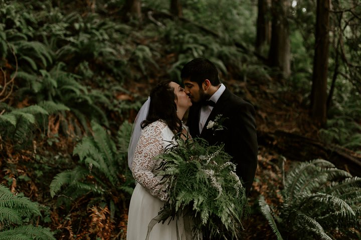 The couple went for some portraits in the woods