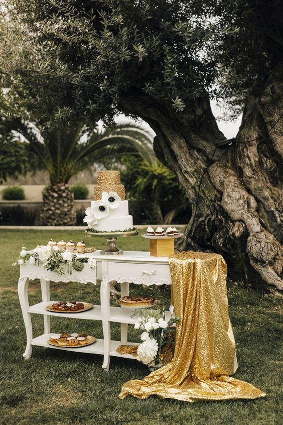 11a gold sequin tablecloth can be also used to spruce up your dessert bar
