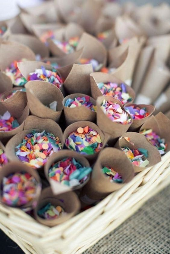 colorful confetti is a popular idea for many weddings, they bring fun and a party fele at once