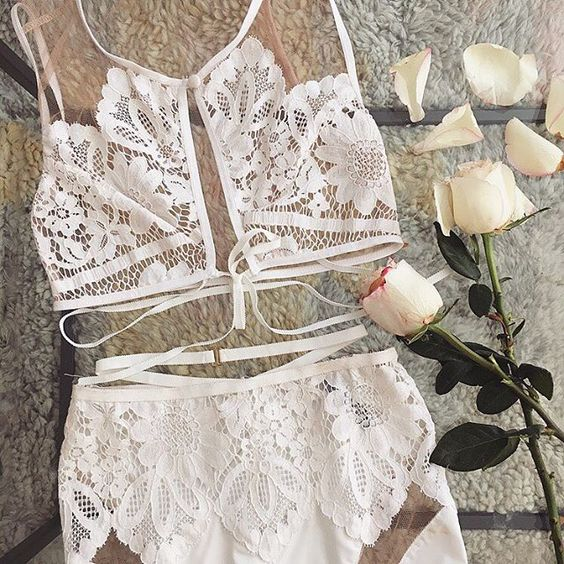 a romantic white crochet lace set with a high neckline bra and high waist panties plus straps