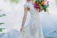 15 a bride wearing an upcycled wedding dress she bought at a thrift store