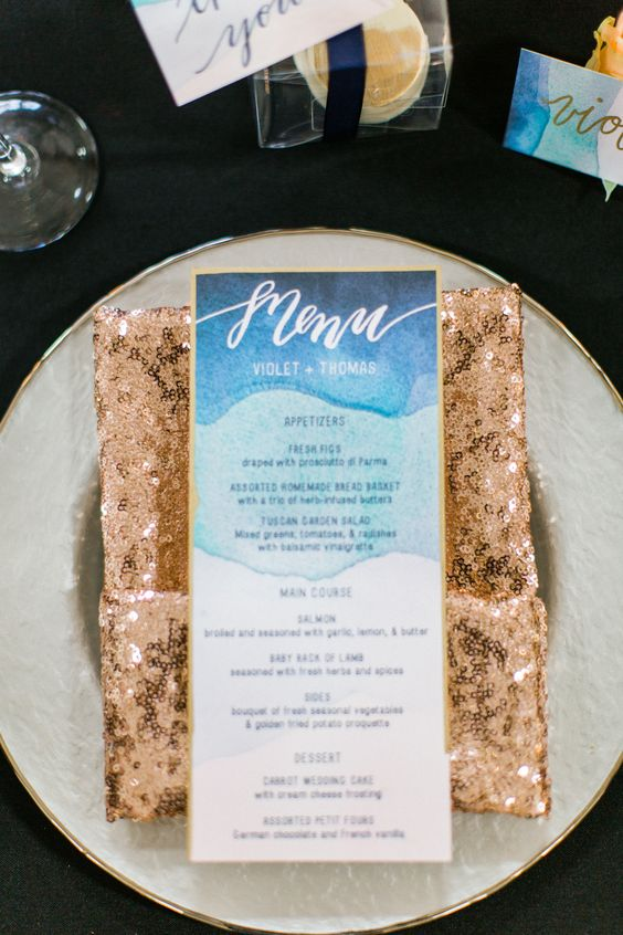 a copper sequin cutlery pocket is a great way to spruce up your table setting