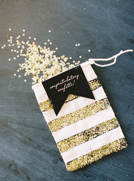 gold sequins as a sparkly and fun idea for your wedding exit, they will fit many themes and styles