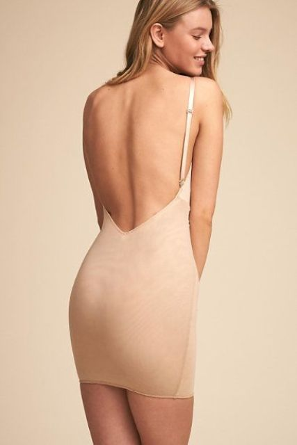 such a full slip in nude color will be a proper choice for a low cut wedding dress and will help you modelling