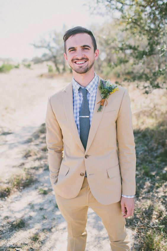 a tan suit with a perfect fit is what will make your look awesome
