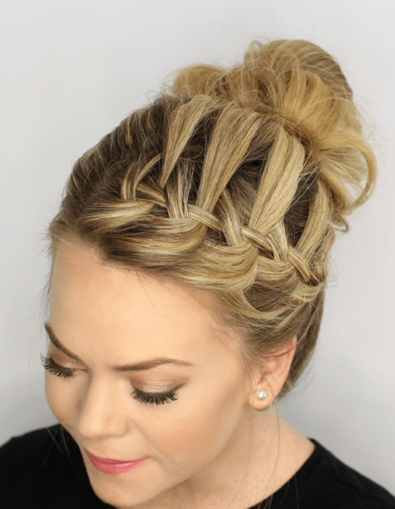 a waterfall braid top knot is a creative idea to rock instead of a usual plain top knot