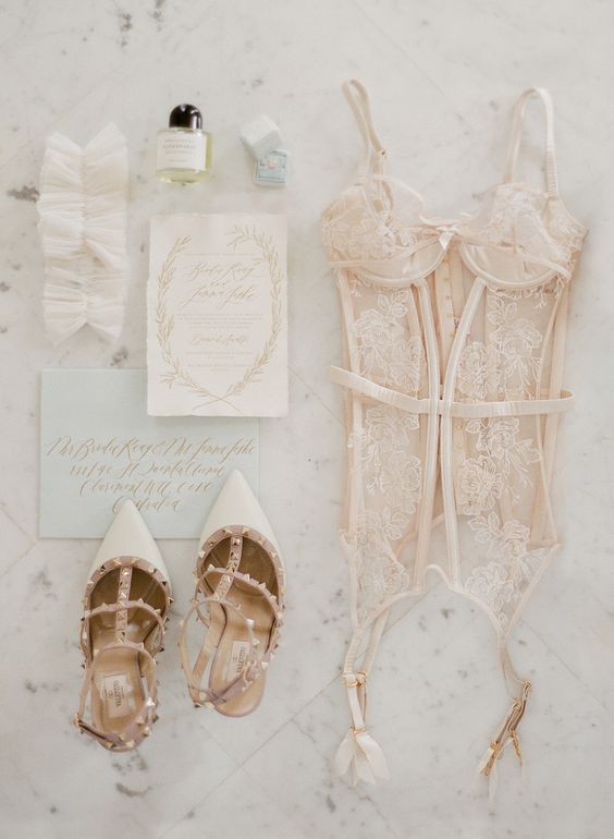 a blush sheer corset with lace appliques will make your bridal look wow