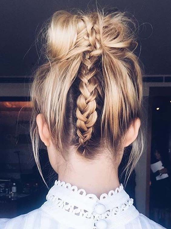 spruce up your top knot with a cool braid on the back, it's perfect for a boho bride