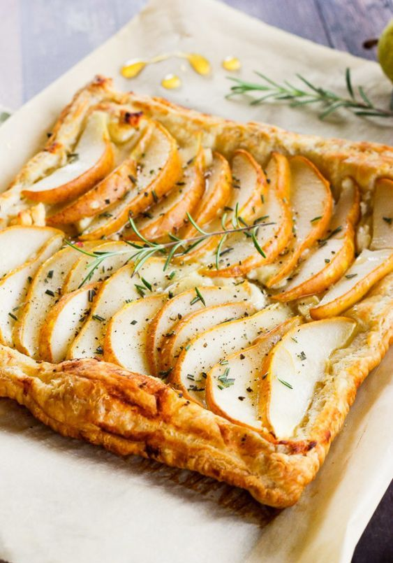 a pear tart with goat cheese, rosemary and honey will warm up everyone