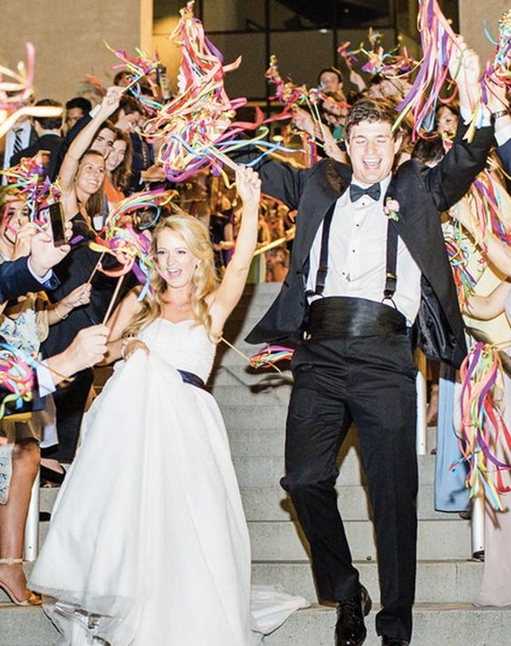 colorful send off streamers are amazing to add fun, a whimsy touch and sprinkle your wedding exit with color