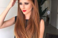 23 a large braid halo and straight hair for a bold and chic look – show off your long locks
