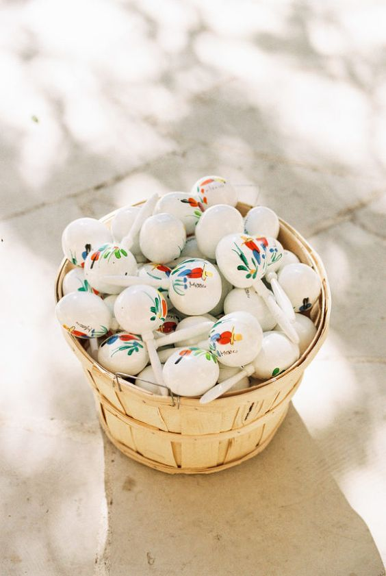 maracas for your wedding exit are ideal for a Mexican wedding or just to have fun at a destination wedding