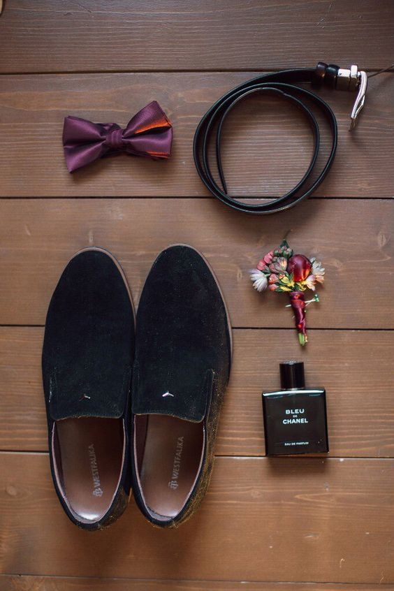 wear trendy moccasins instead of shoes and stand out with a plum-colored bow tie