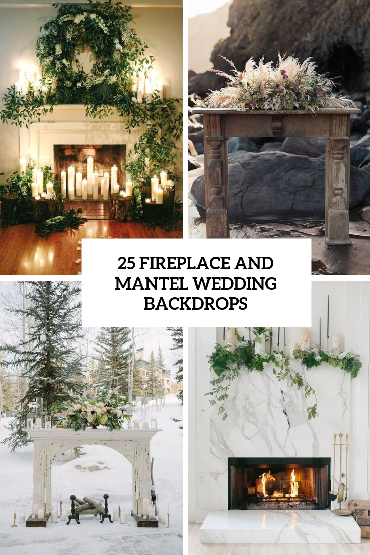 fireplace and mantel wedding backdrops cover