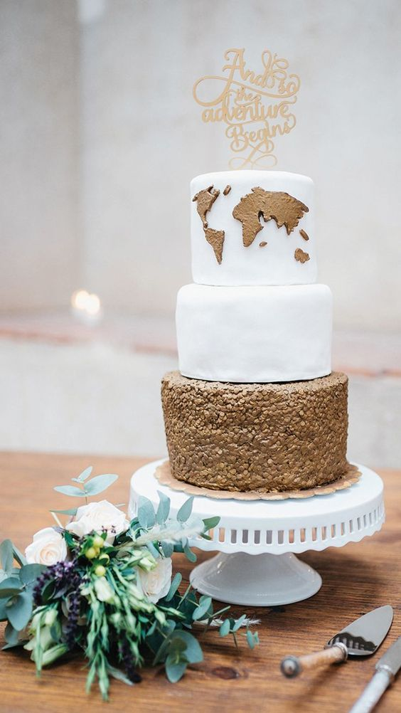 a travel-inspired wedding cake with a copper edible map and a copper sequin layer