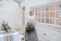 26 a white long sleeve top and a grey tulle A-line skirt for a modern look with a girlish feel