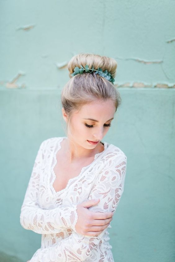 you may accent your top knot with a eucalyptus branch, it's an edgy alternative to a greenery crown