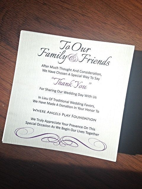a wedding favor donation example, which you may use if you want the same