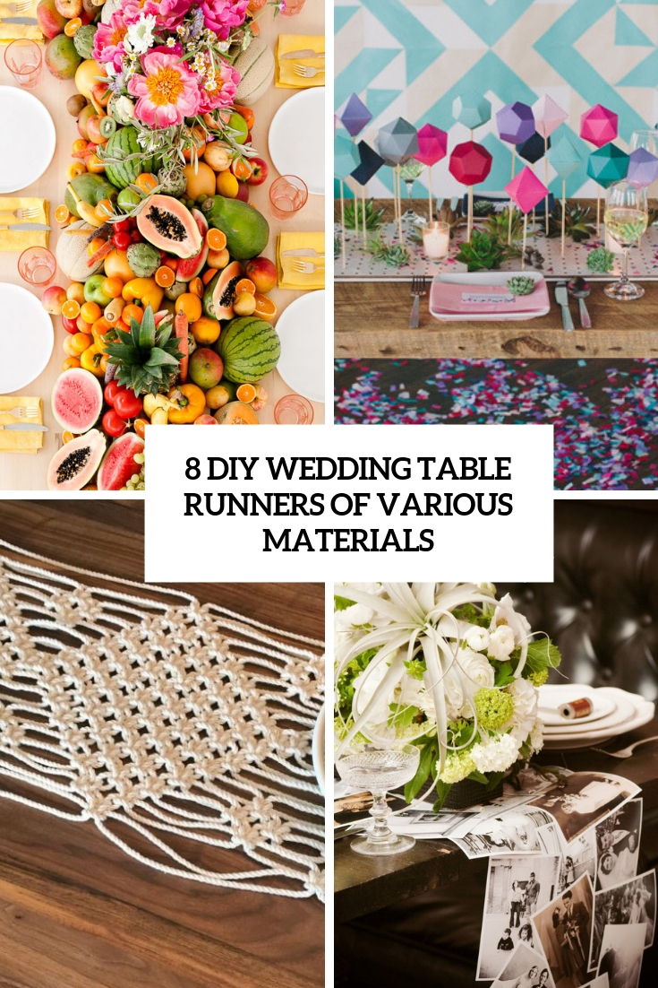 8 DIY Wedding Table Runners Of Various Materials