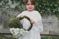 DIY moss flower girl basket with white silk flowers