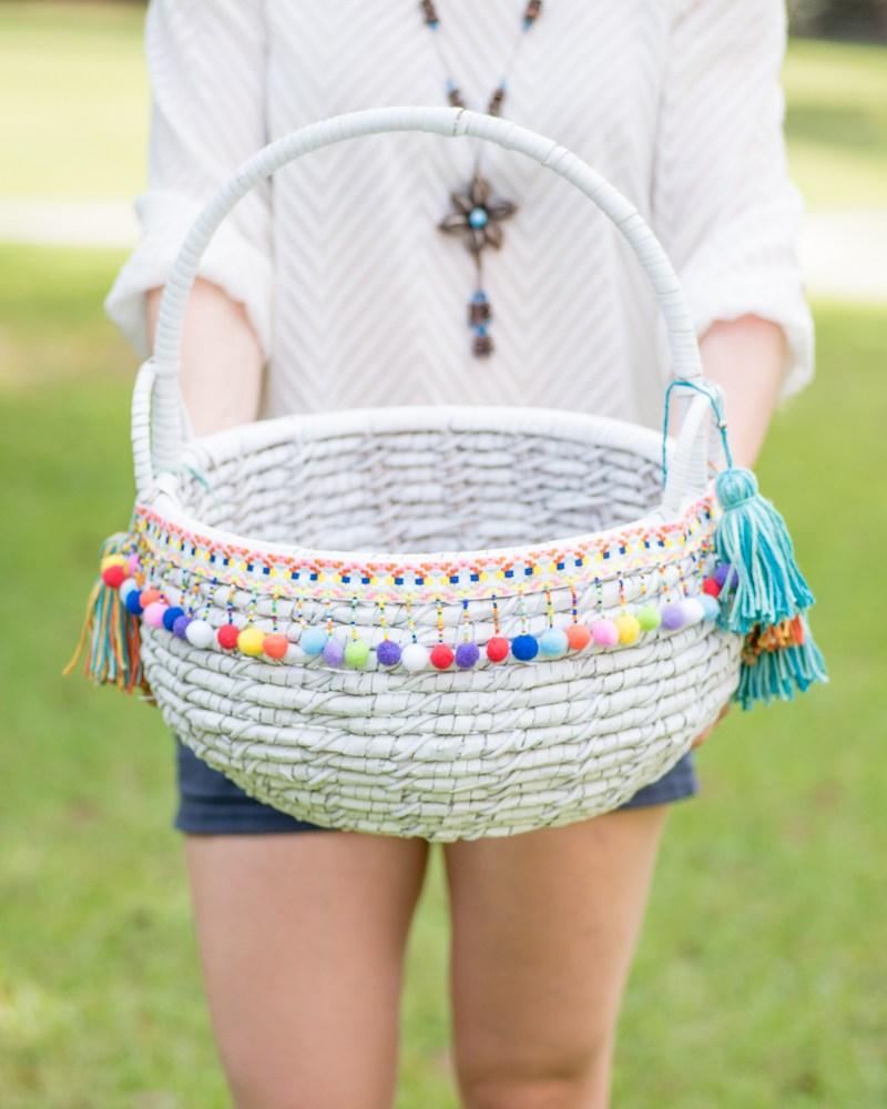 DIY boho basket with pompoms and tassels