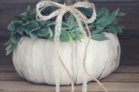 DIY pumpkin flower girl basket for fall weddings