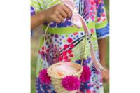 DIY colorful pompom flower girl basket