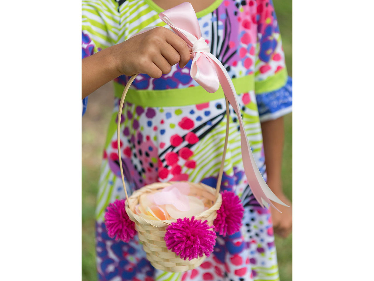 DIY colorful pompom flower girl basket
