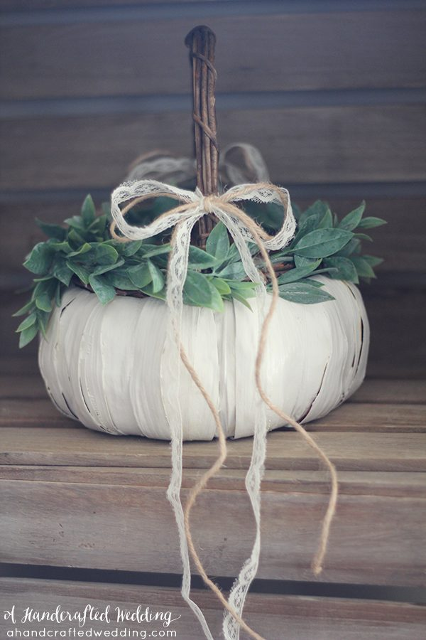 DIY pumpkin flower girl basket for fall weddings