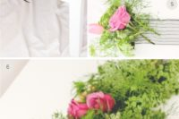 DIY greenery and bright pink bloom wedding table runner