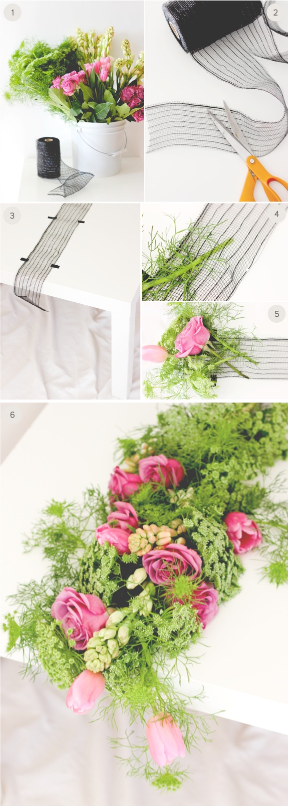 DIY greenery and bright pink bloom wedding table runner (via www.minted.com)