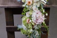 DIY cascading lush floral table runner
