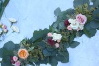 DIY eucalyptus and fresh bloom table runner