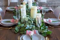 DIY eucalyptus and salal wedding table runner