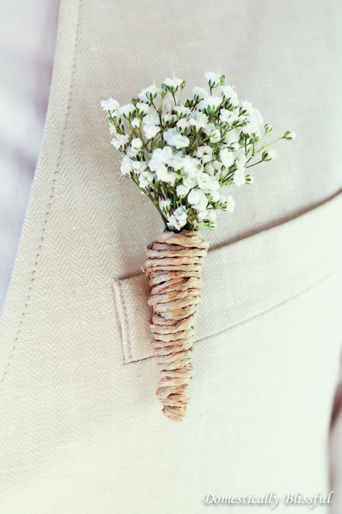 DIY baby's breath and twine wedding boutonniere