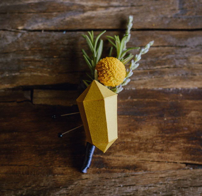 DIY craspedia and yellow geometric cube boutonniere (via greenweddingshoes.com)