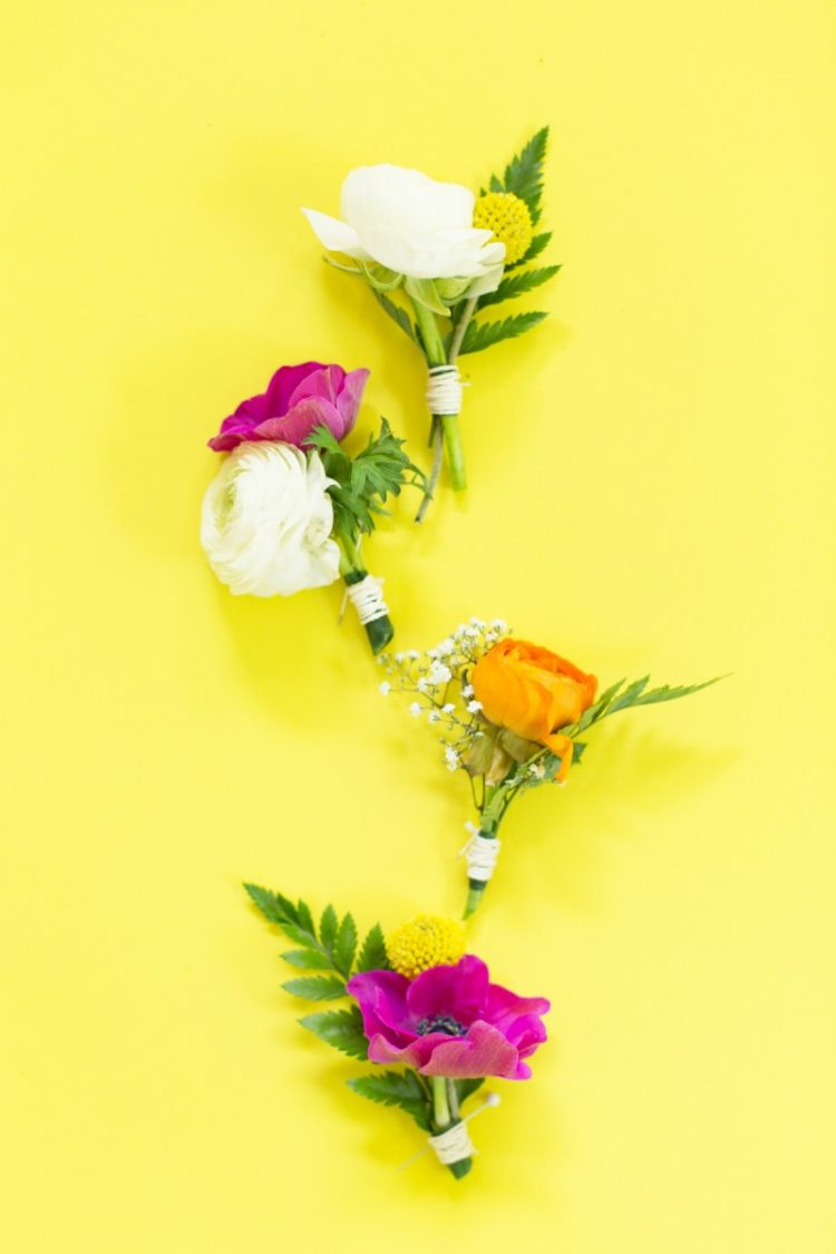 DIY colorful floral wedding boutonnieres (via lovelyindeed.com)