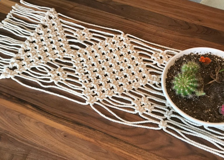DIY simple square knot macrame table runner