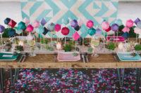 DIY 3D geometric wedding table runner