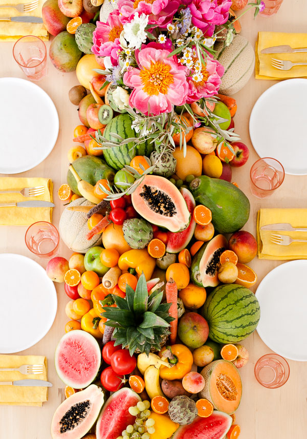 DIY lush fruit and vegetable wedding table runner