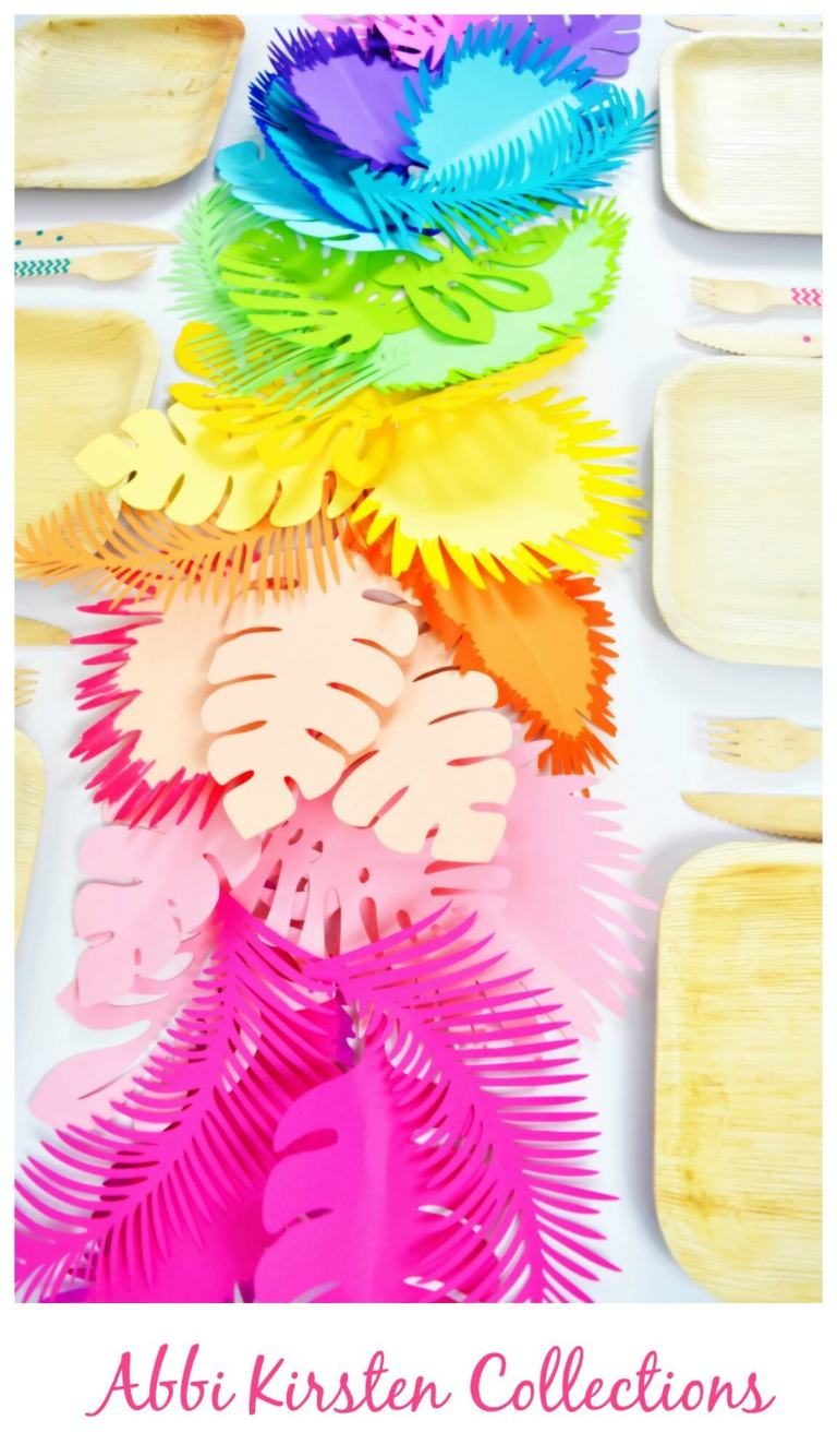DIY rainbow paper leaf and flower table runner