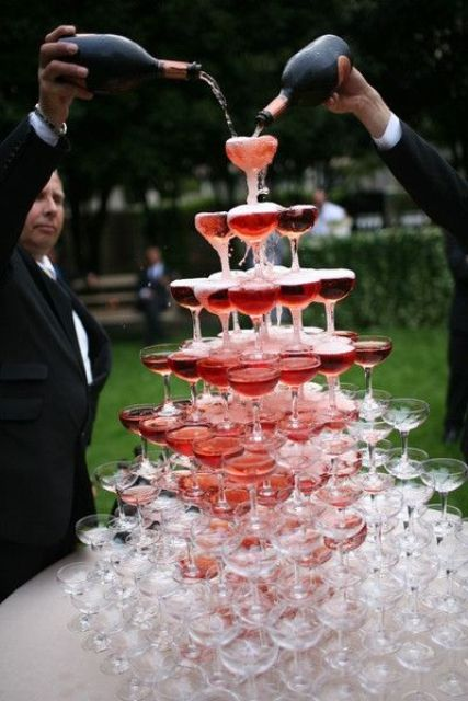 many types of sparkling wine will work with a champagne tower, not only champagne itself