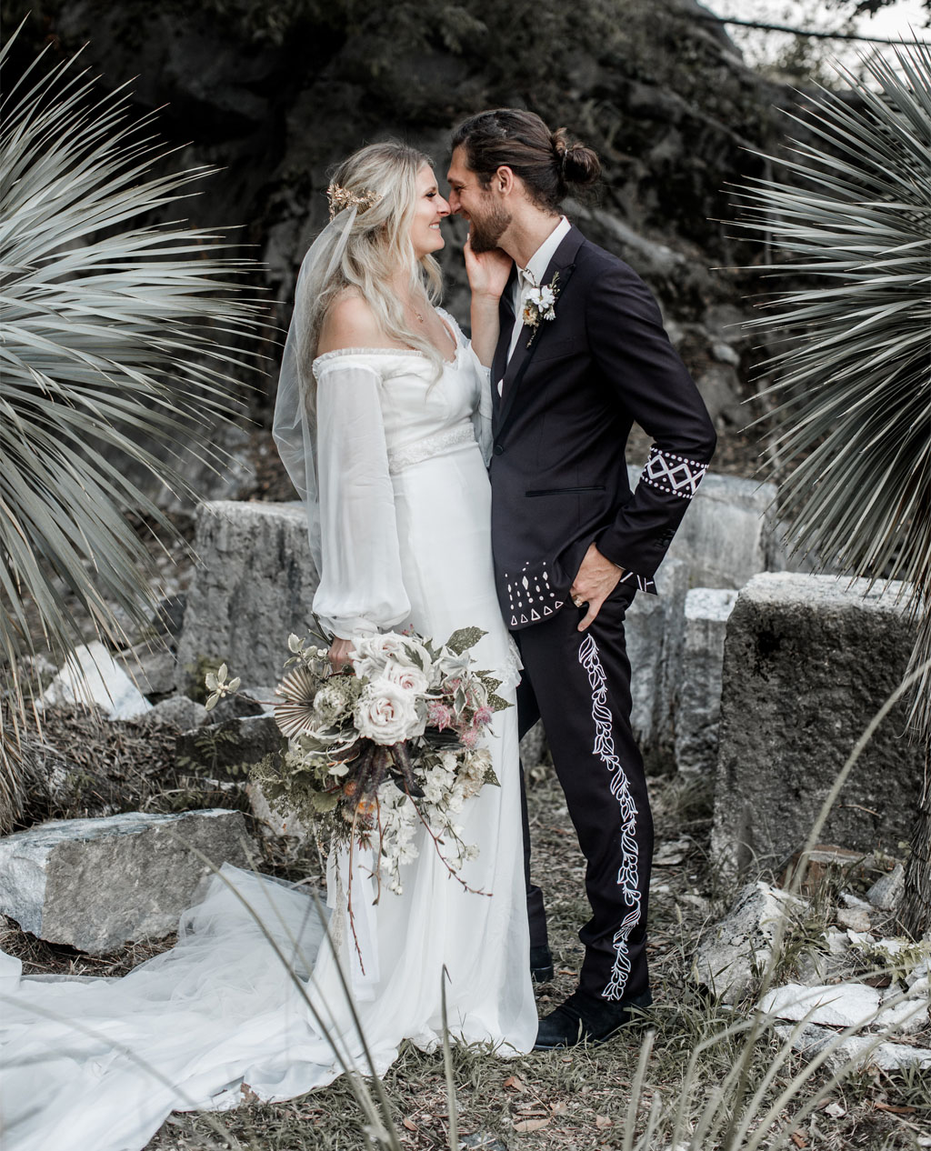This gorgeous boho chic wedding tied two co owners of Daughters of Simone, a wedding dress brand