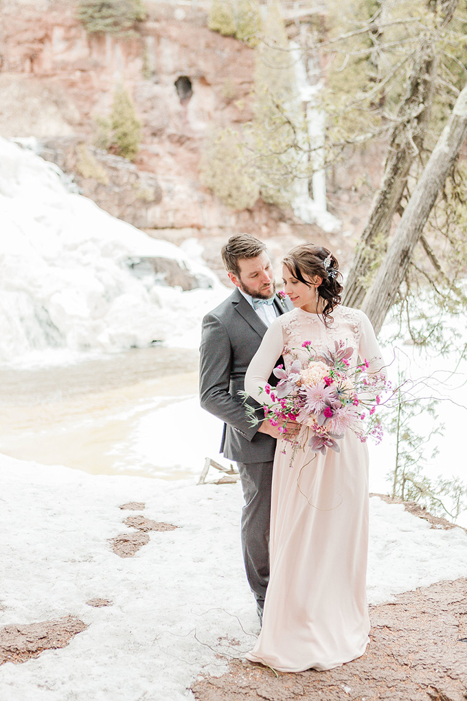 Gorgeous Pink Snowy Elopement Shoot