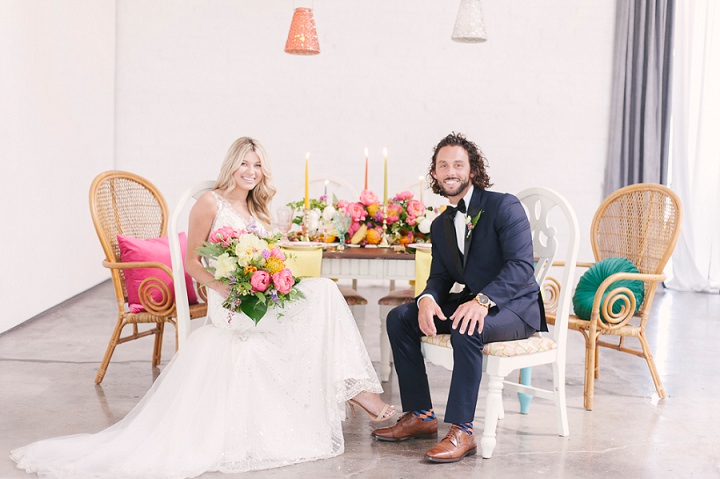 This tropical glam boho elopement took place in Las Vegas and was styled with super bold colors