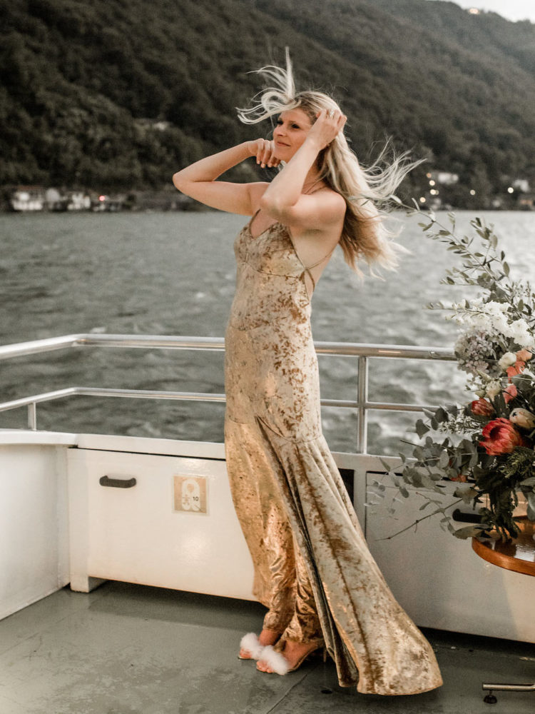 The rehearsal dinner took place on a yacht going on Lake Como