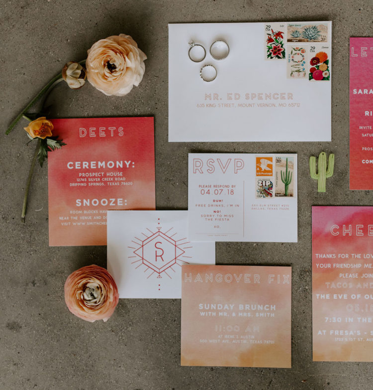 The wedding stationery suite was done in rust, red, pink with an ombre effect