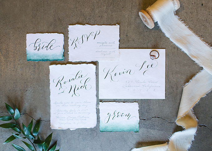 The wedding stationery was done with a raw edge and a touch of watercolor