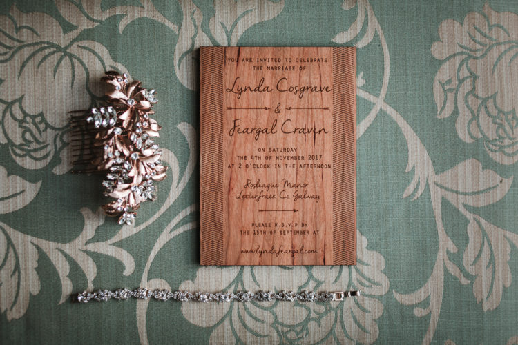 The wedding stationery was wooden and wood burnt to highlight the rustic feel