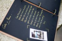 02 a stylish wedding guest book with Instax pics of your guests and wishes from them